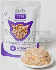 "Brit (Брит) Care Cat Chicken & Cheese KITTEN Pouch ""Курица и сыр для котят"" 80 g"