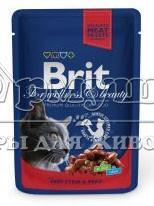Brit Premium кусочки с рагу из говядины и горошком 100гр