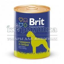 Консервы BRIT BEEF & HEART для собак (говядина и сердце) 850 г