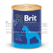 Консервы BRIT BEEF & RICE для собак (говядина и рис) 850 г