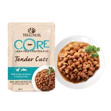 Пауч для кошек Wellness Core Tender Cuts нарезка из курицы с лососем в соусе, 85 гр.