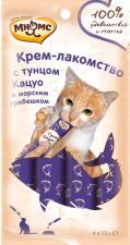Крем-лакомство для кошек Мнямс с тунцом Кацуо и морским гребешком
