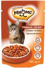 Влажный корм для кошек Мнямс с говядиной в соусе
