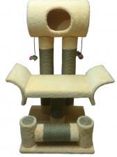 Комплекс напольный «ЭСТЕТ»  с игровым цилиндром, тахтой и горизонтальной вращающейся когтеточкой