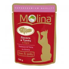 Корм для кошек Molina тунец и лосось в соусе, 100 г