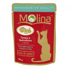 Корм для кошек Molina тунец и цыпленок в желе, 100 г.
