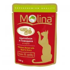 Корм для кошек Molina цыпленок и говядина в соусе, 100 г.