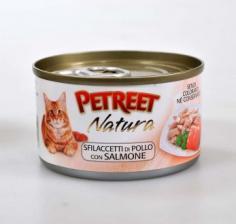 Корм для кошек Petreet консервы для кошек куриная грудка с лососем 70 г