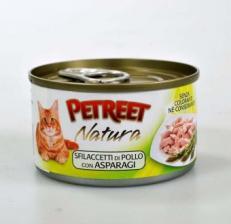 Корм для кошек Petreet консервы для кошек куриная грудка со спаржей 70 г