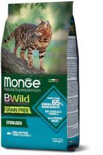 Корм для стерилизованных кошек Monge BWild беззерновой (тунец и горох)