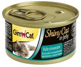 Консервы для кошек GimCat ShinyCat из цыпленка с креветками (паштет)
