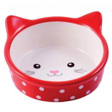 КерамикАрт мордочка кошки красная в горошек