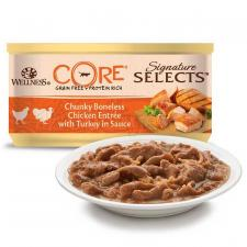 Консерва для кошек,  Wellness Core Велнесс кусочки (курица и индейка), 79г