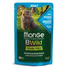 Monge Cat BWild GRAIN FREE (анчоус с овощами), 85г