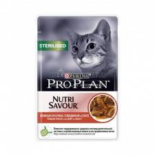 Консервы Purina Pro Plan для стерилизованных кошек и кастрированных котов, говядина, пауч, 85 г