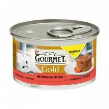 Консервы для кошек Purina Gourmet Gold Нежные биточки, говядина с томатами, банка, 85 г