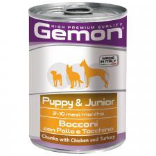 Консервы для щенков Gemon Dog кусочки курицы с индейкой 415г