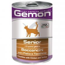 Консервы для пожилых кошек Gemon Cat кусочки курицы с индейкой