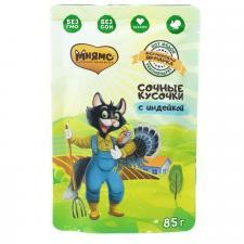Влажный корм Мнямс сочные кусочки для кошек с индейкой «Фермерская ярмарка» линия Кот Федор 85г