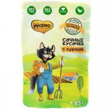 Влажный корм Мнямс сочные кусочки для кошек с курицей «Фермерская ярмарка» линия Кот Федор 85г