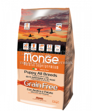 MONGE GRAIN FREE ALL BREEDS  PUPPY CON ANATRA E PATATE